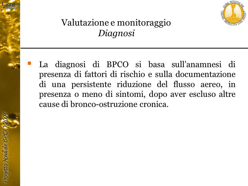  La diagnosi di BPCO si basa sull'anamnesi di presenza di fattori di rischio e sulla documentazione di una persistente riduzione del flusso aereo, in presenza o meno di sintomi, dopo aver escluso altre cause di bronco-ostruzione cronica.