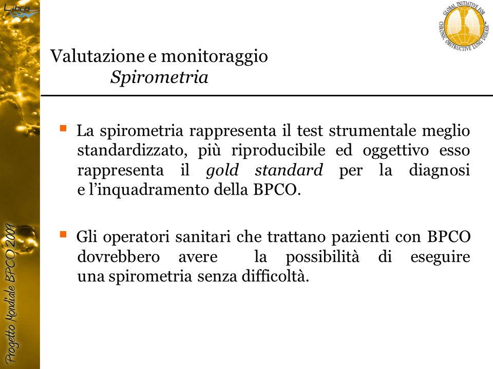  La spirometria rappresenta il test strumentale meglio standardizzato, più riproducibile ed oggettivo esso rappresenta il gold standard per la diagnosi e l'inquadramento della BPCO.
