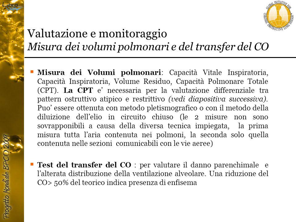 Valutazione e monitoraggio Misura dei volumi polmonari e del transfer del CO  Misura dei Volumi polmonari: Capacità Vitale Inspiratoria, Capacità Inspiratoria, Volume Residuo, Capacità Polmonare Totale (CPT).