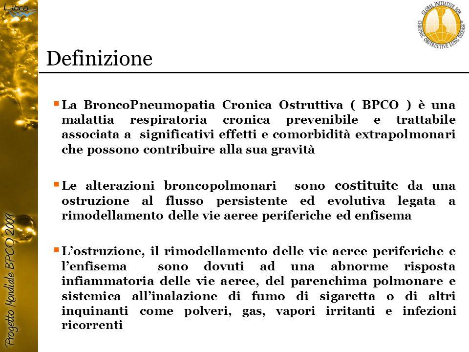 Definizione  La BroncoPneumopatia Cronica Ostruttiva ( BPCO ) è una malattia respiratoria cronica prevenibile e trattabile associata a significativi effetti e comorbidità extrapolmonari che possono contribuire alla sua gravità  Le alterazioni broncopolmonari sono costituite da una ostruzione al flusso persistente ed evolutiva legata a rimodellamento delle vie aeree periferiche ed enfisema  L'ostruzione, il rimodellamento delle vie aeree periferiche e l'enfisema sono dovuti ad una abnorme risposta infiammatoria delle vie aeree, del parenchima polmonare e sistemica all'inalazione di fumo di sigaretta o di altri inquinanti come polveri, gas, vapori irritanti e infezioni ricorrenti