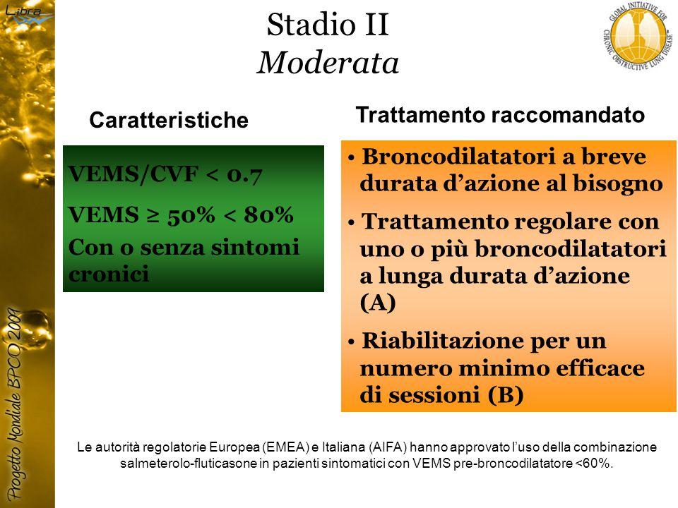 Stadio II Moderata VEMS/CVF < 0.7 VEMS ≥ 50% < 80% Con o senza sintomi cronici Caratteristiche Trattamento raccomandato Broncodilatatori a breve durata d'azione al bisogno Trattamento regolare con uno o più broncodilatatori a lunga durata d'azione (A) Riabilitazione per un numero minimo efficace di sessioni (B) Le autorità regolatorie Europea (EMEA) e Italiana (AIFA) hanno approvato l'uso della combinazione salmeterolo-fluticasone in pazienti sintomatici con VEMS pre-broncodilatatore <60%.