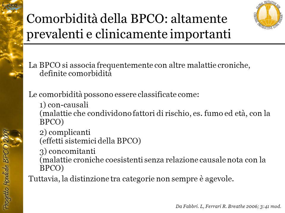 Comorbidità della BPCO: altamente prevalenti e clinicamente importanti La BPCO si associa frequentemente con altre malattie croniche, definite comorbidità Le comorbidità possono essere classificate come: 1) con-causali (malattie che condividono fattori di rischio, es.