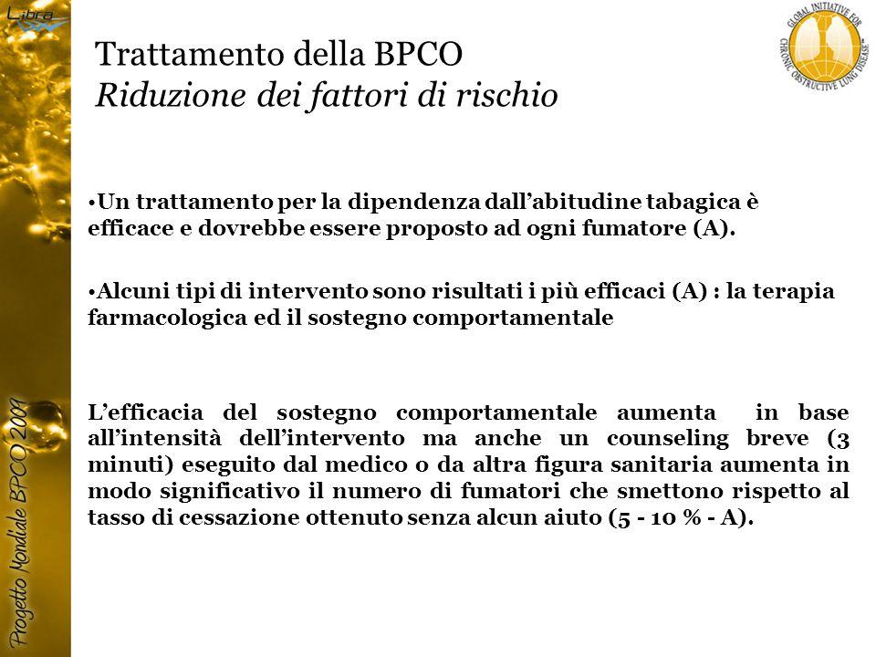 Trattamento della BPCO Riduzione dei fattori di rischio Un trattamento per la dipendenza dall'abitudine tabagica è efficace e dovrebbe essere proposto ad ogni fumatore (A).