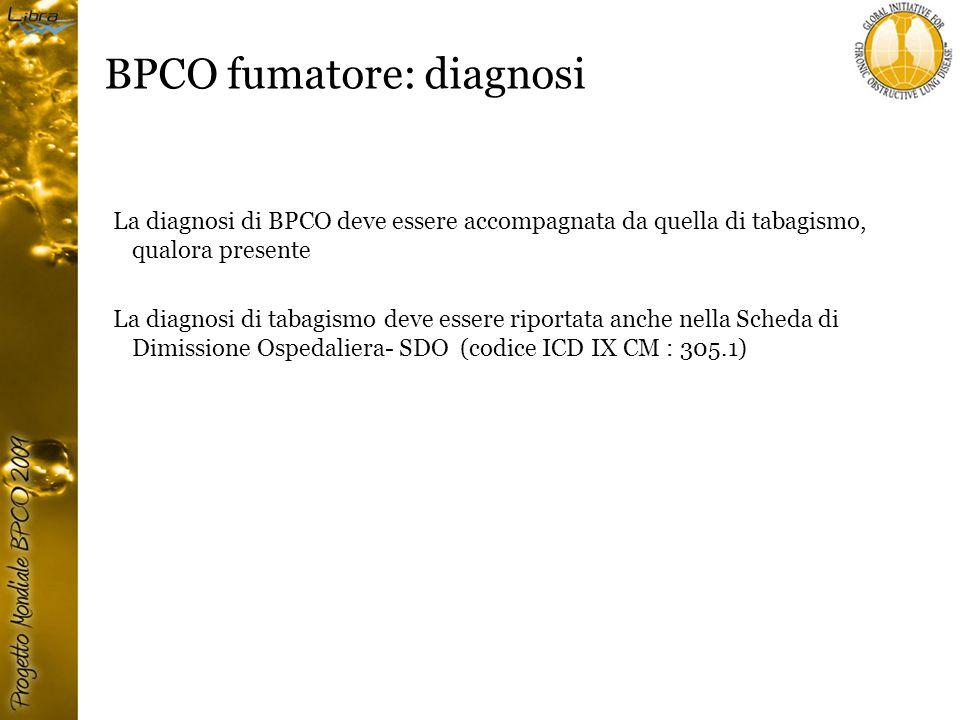 BPCO fumatore: diagnosi La diagnosi di BPCO deve essere accompagnata da quella di tabagismo, qualora presente La diagnosi di tabagismo deve essere riportata anche nella Scheda di Dimissione Ospedaliera- SDO (codice ICD IX CM : 305.1)