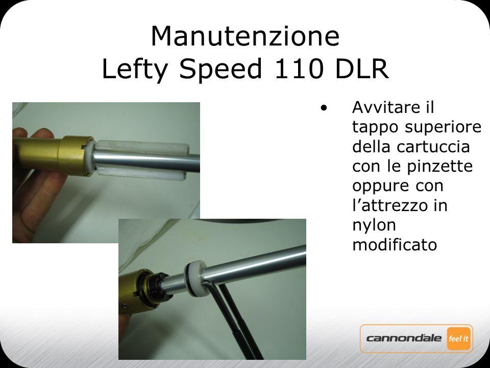 Avvitare il tappo superiore della cartuccia con le pinzette oppure con l'attrezzo in nylon modificato Manutenzione Lefty Speed 110 DLR