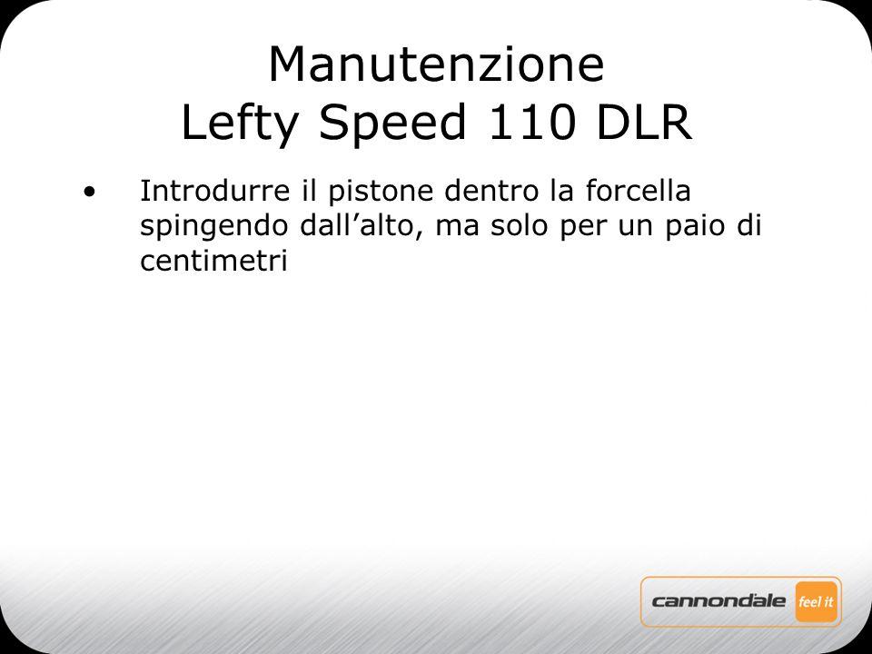 Introdurre il pistone dentro la forcella spingendo dall'alto, ma solo per un paio di centimetri Manutenzione Lefty Speed 110 DLR