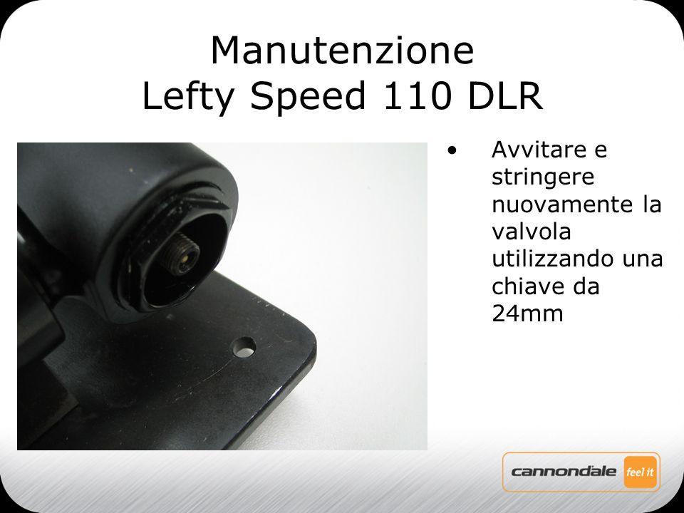 Avvitare e stringere nuovamente la valvola utilizzando una chiave da 24mm Manutenzione Lefty Speed 110 DLR