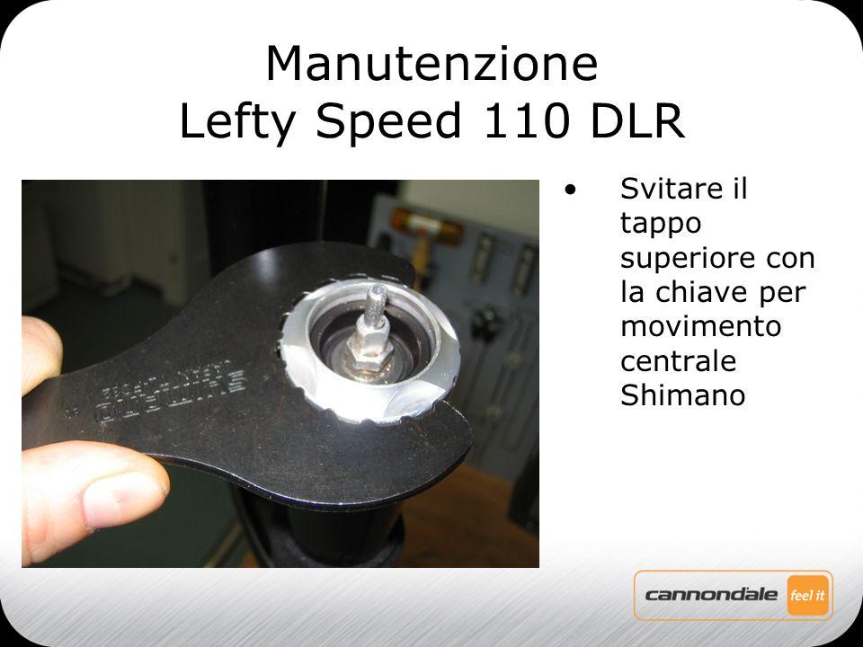 Svitare il tappo superiore con la chiave per movimento centrale Shimano Manutenzione Lefty Speed 110 DLR