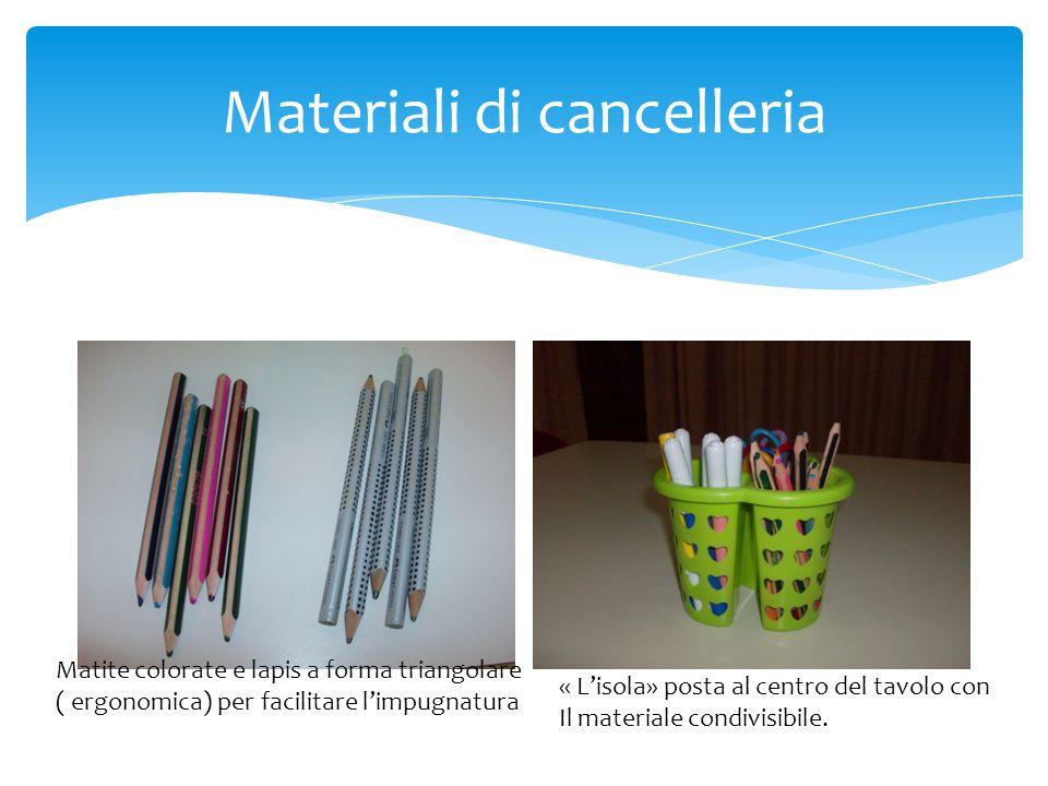 Contenitori per materiali Lo scaffale contenente il vario materialeLe «buchette» personali