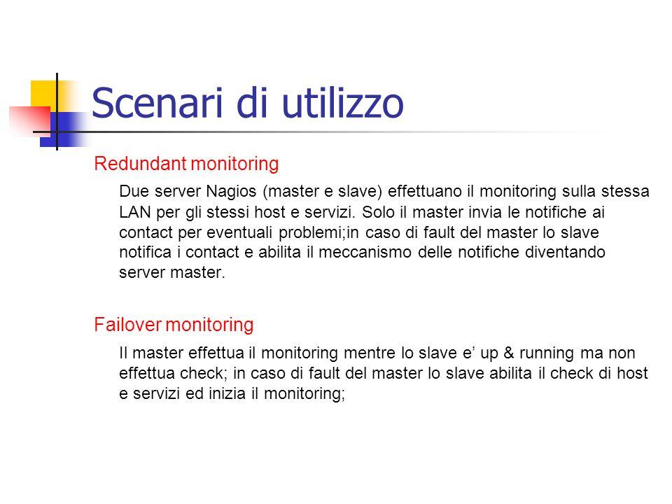 Scenari di utilizzo Redundant monitoring Due server Nagios (master e slave) effettuano il monitoring sulla stessa LAN per gli stessi host e servizi. S