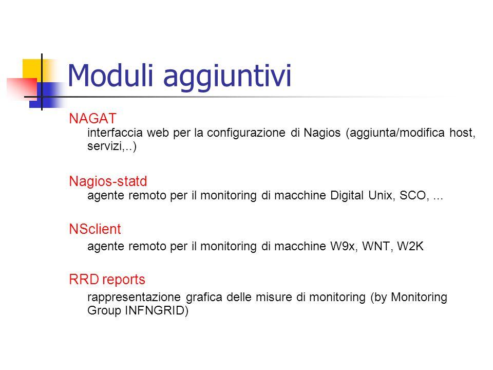 Moduli aggiuntivi NAGAT interfaccia web per la configurazione di Nagios (aggiunta/modifica host, servizi,..) Nagios-statd agente remoto per il monitor