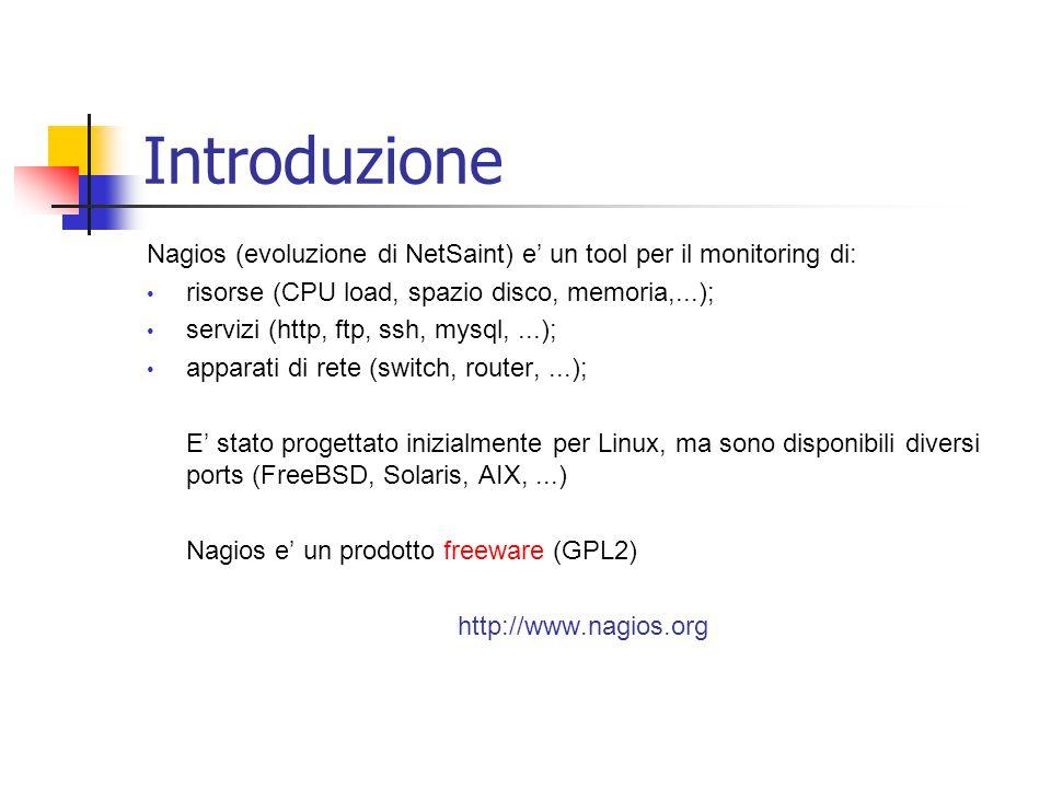 Introduzione Nagios (evoluzione di NetSaint) e' un tool per il monitoring di: risorse (CPU load, spazio disco, memoria,...); servizi (http, ftp, ssh,
