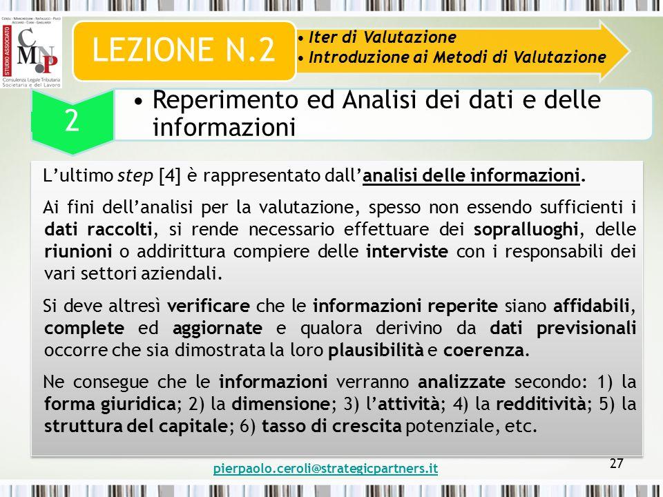 pierpaolo.ceroli@strategicpartners.it 27 Iter di Valutazione Introduzione ai Metodi di Valutazione LEZIONE N.2 2 Reperimento ed Analisi dei dati e delle informazioni L'ultimo step [4] è rappresentato dall'analisi delle informazioni.