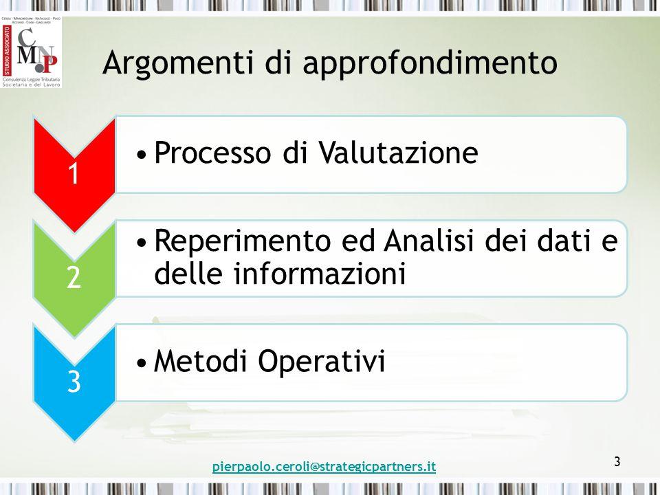 Argomenti di approfondimento 1 Processo di Valutazione 2 Reperimento ed Analisi dei dati e delle informazioni 3 Metodi Operativi pierpaolo.ceroli@strategicpartners.it 3