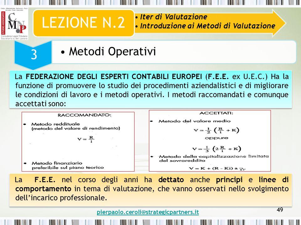 pierpaolo.ceroli@strategicpartners.it 49 Iter di Valutazione Introduzione ai Metodi di Valutazione LEZIONE N.2 3 Metodi Operativi La FEDERAZIONE DEGLI ESPERTI CONTABILI EUROPEI (F.E.E.