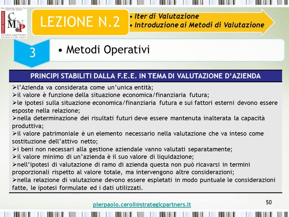pierpaolo.ceroli@strategicpartners.it 50 Iter di Valutazione Introduzione ai Metodi di Valutazione LEZIONE N.2 3 Metodi Operativi PRINCIPI STABILITI DALLA F.E.E.