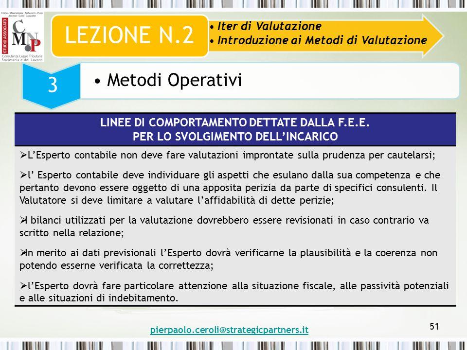 pierpaolo.ceroli@strategicpartners.it 51 Iter di Valutazione Introduzione ai Metodi di Valutazione LEZIONE N.2 3 Metodi Operativi LINEE DI COMPORTAMENTO DETTATE DALLA F.E.E.