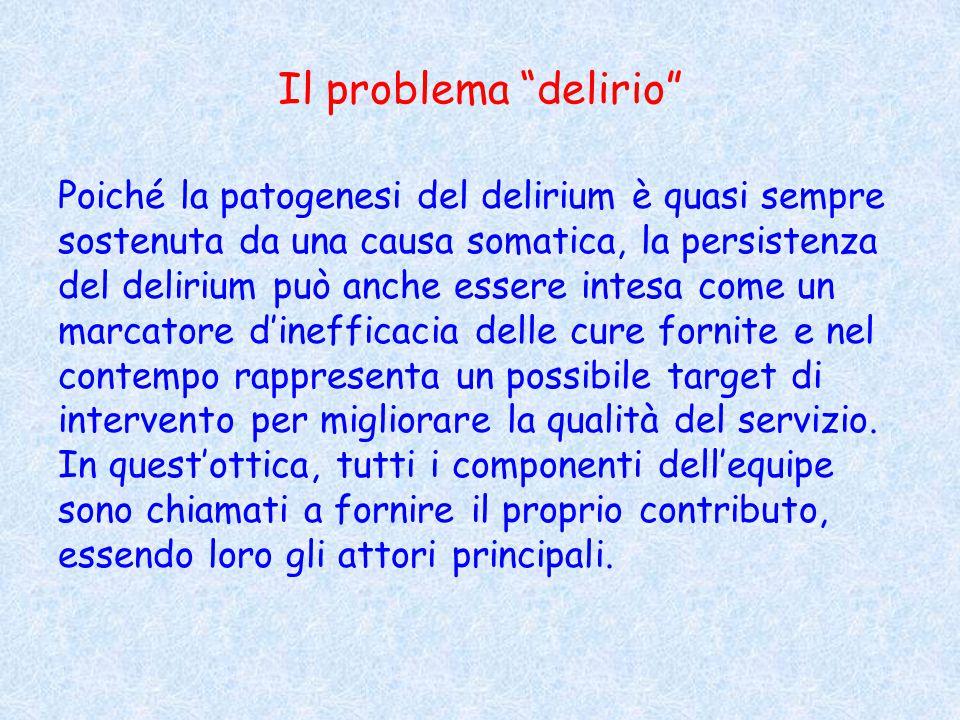 """Il problema """"delirio"""" Poiché la patogenesi del delirium è quasi sempre sostenuta da una causa somatica, la persistenza del delirium può anche essere i"""