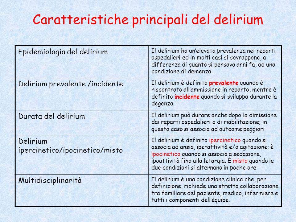 Caratteristiche principali del delirium Epidemiologia del delirium Il delirium ha un'elevata prevalenza nei reparti ospedalieri ed in molti casi si so