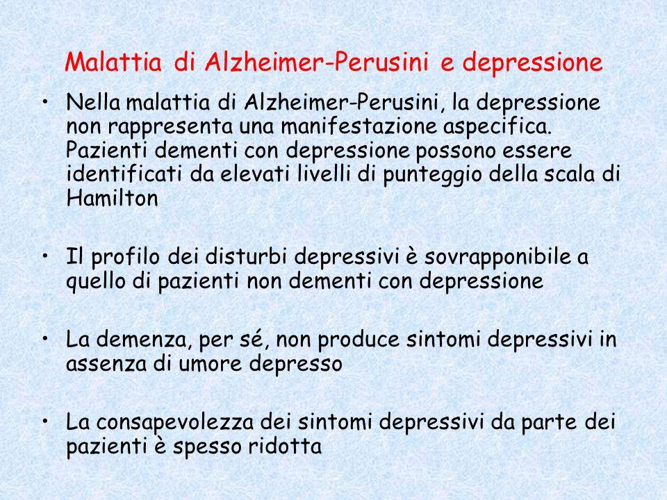 Malattia di Alzheimer-Perusini e depressione Nella malattia di Alzheimer-Perusini, la depressione non rappresenta una manifestazione aspecifica. Pazie