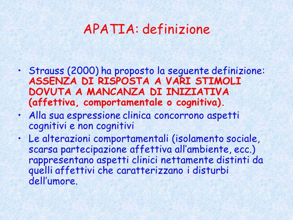 APATIA: definizione Strauss (2000) ha proposto la seguente definizione: ASSENZA DI RISPOSTA A VARI STIMOLI DOVUTA A MANCANZA DI INIZIATIVA (affettiva,