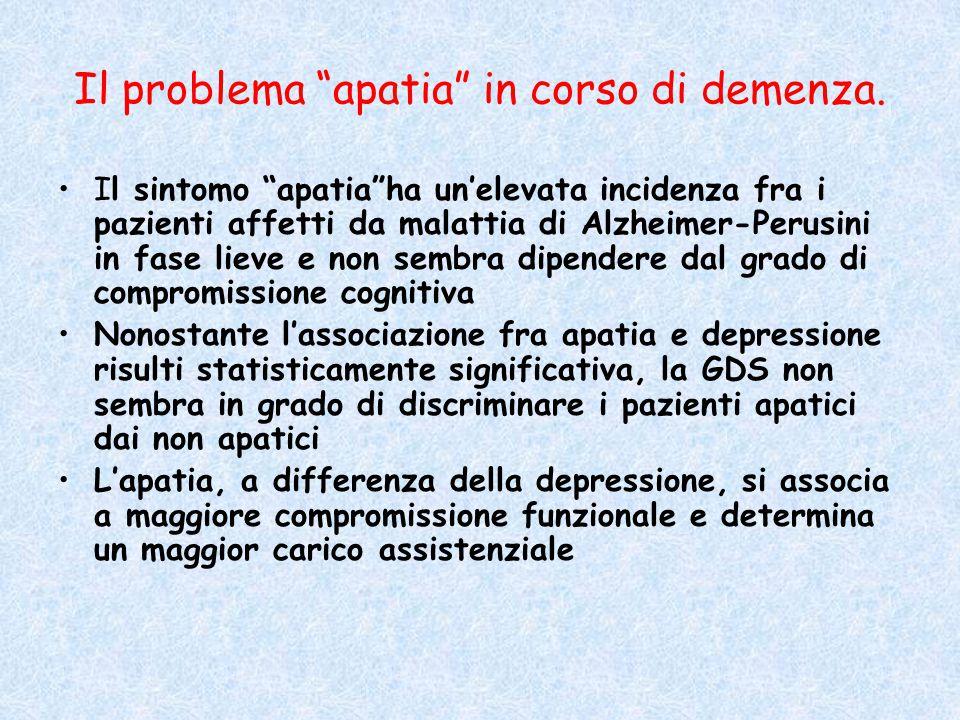 """Il problema """"apatia"""" in corso di demenza. Il sintomo """"apatia""""ha un'elevata incidenza fra i pazienti affetti da malattia di Alzheimer-Perusini in fase"""