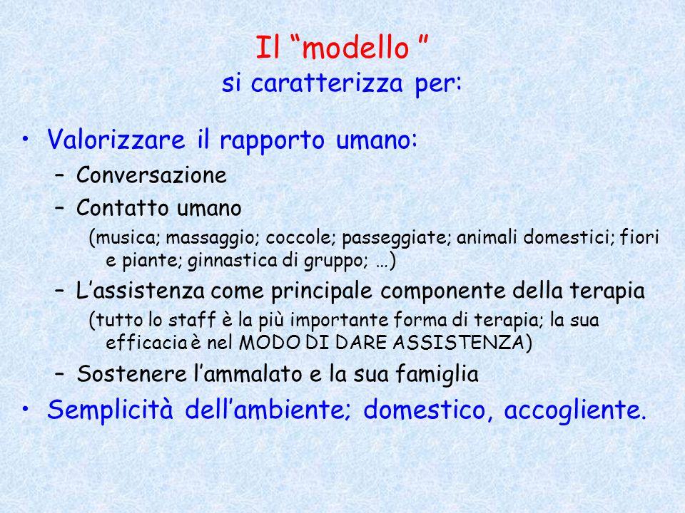"""Il """"modello """" si caratterizza per: Valorizzare il rapporto umano: –Conversazione –Contatto umano (musica; massaggio; coccole; passeggiate; animali dom"""