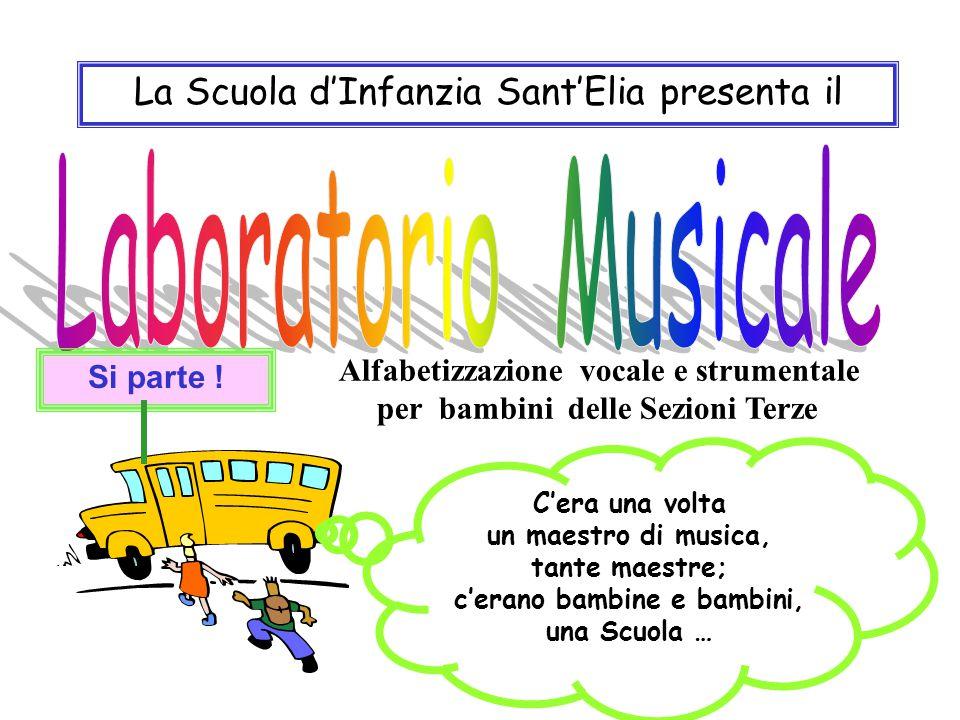 La Scuola d'Infanzia Sant'Elia presenta il C'era una volta un maestro di musica, tante maestre; c'erano bambine e bambini, una Scuola … Si parte .