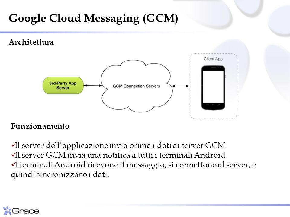 Funzionamento Il server dell'applicazione invia prima i dati ai server GCM Il server GCM invia una notifica a tutti i terminali Android I terminali Android ricevono il messaggio, si connettono al server, e quindi sincronizzano i dati.