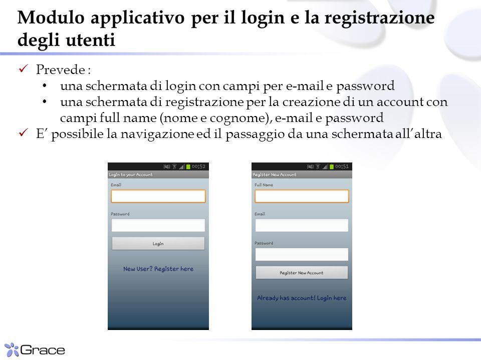 Prevede : una schermata di login con campi per e-mail e password una schermata di registrazione per la creazione di un account con campi full name (nome e cognome), e-mail e password E' possibile la navigazione ed il passaggio da una schermata all'altra