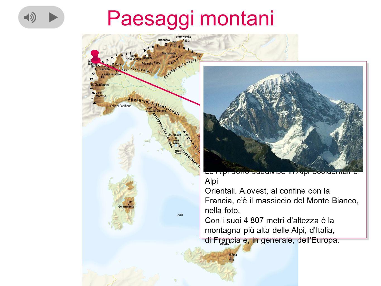Paesaggi montani Le Alpi hanno generalmente forme appuntite e sono molto alte perché le loro rocce sono dure e resistono all'erosione del vento, della pioggia e del gelo.