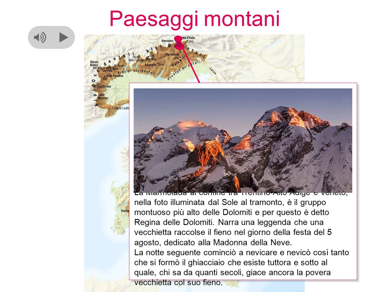 Paesaggi montani La Marmolada al confine tra Trentino-Alto Adige e Veneto, nella foto illuminata dal Sole al tramonto, è il gruppo montuoso più alto delle Dolomiti e per questo è detto Regina delle Dolomiti.
