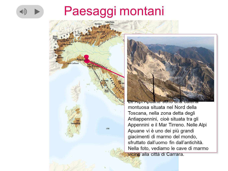 Paesaggi montani Le Alpi Apuane sono una catena montuosa situata nel Nord della Toscana, nella zona detta degli Antiappennini, cioè situata tra gli Appennini e il Mar Tirreno.