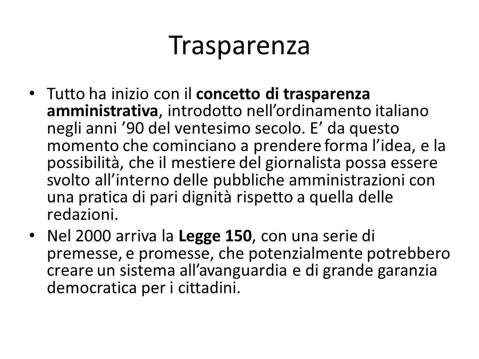 Trasparenza Tutto ha inizio con il concetto di trasparenza amministrativa, introdotto nell'ordinamento italiano negli anni '90 del ventesimo secolo. E