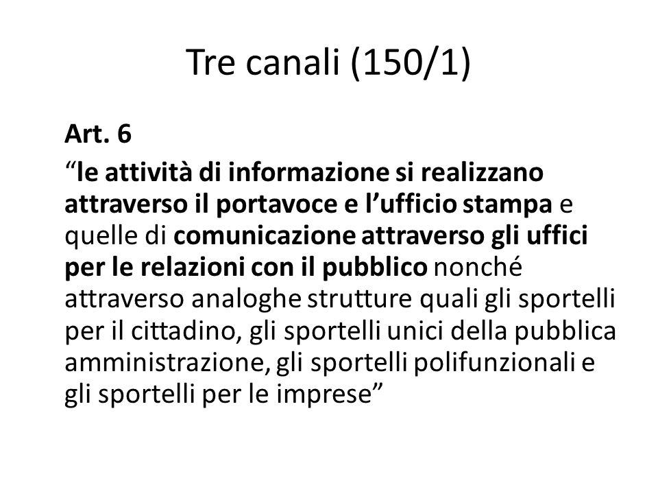 """Tre canali (150/1) Art. 6 """"le attività di informazione si realizzano attraverso il portavoce e l'ufficio stampa e quelle di comunicazione attraverso g"""