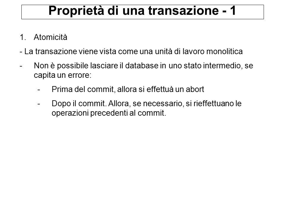 Proprietà di una transazione - 1 1.Atomicità - La transazione viene vista come una unità di lavoro monolitica -Non è possibile lasciare il database in uno stato intermedio, se capita un errore: -Prima del commit, allora si effettuà un abort -Dopo il commit.