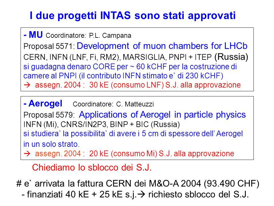 - MU Coordinatore: P.L. Campana Proposal 5571: Development of muon chambers for LHCb CERN, INFN (LNF, Fi, RM2), MARSIGLIA, PNPI + ITEP (Russia) si gua