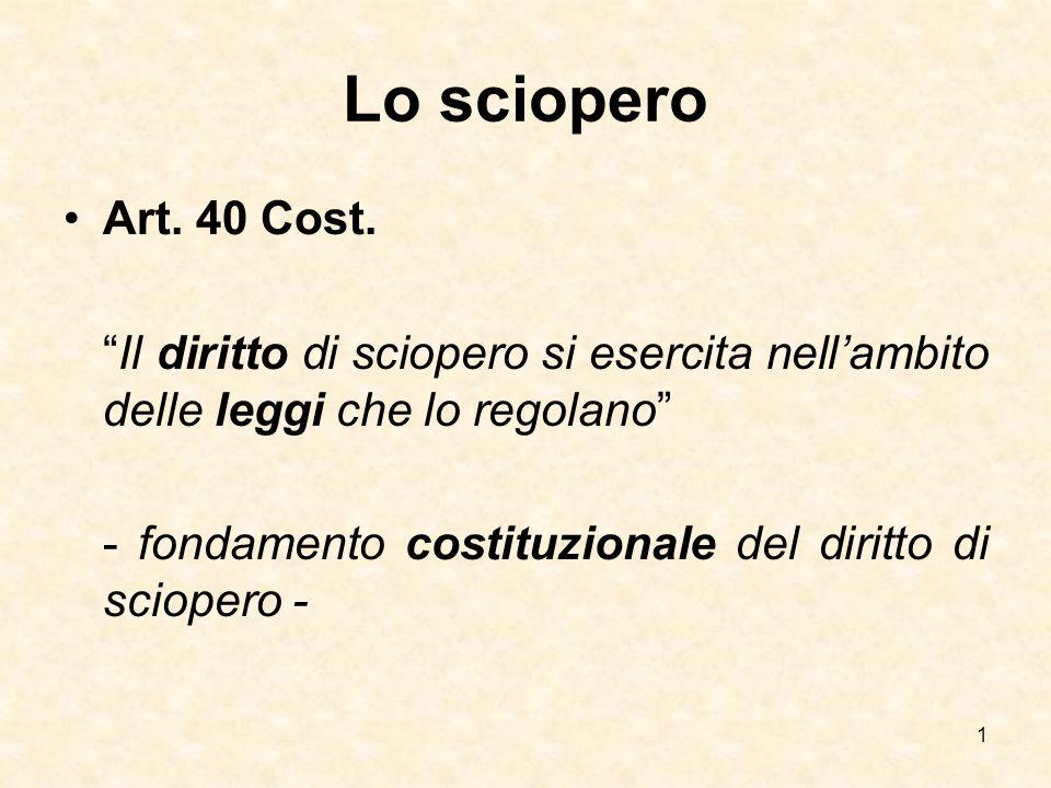 """Lo sciopero Art. 40 Cost. """"Il diritto di sciopero si esercita nell'ambito delle leggi che lo regolano"""" - fondamento costituzionale del diritto di scio"""