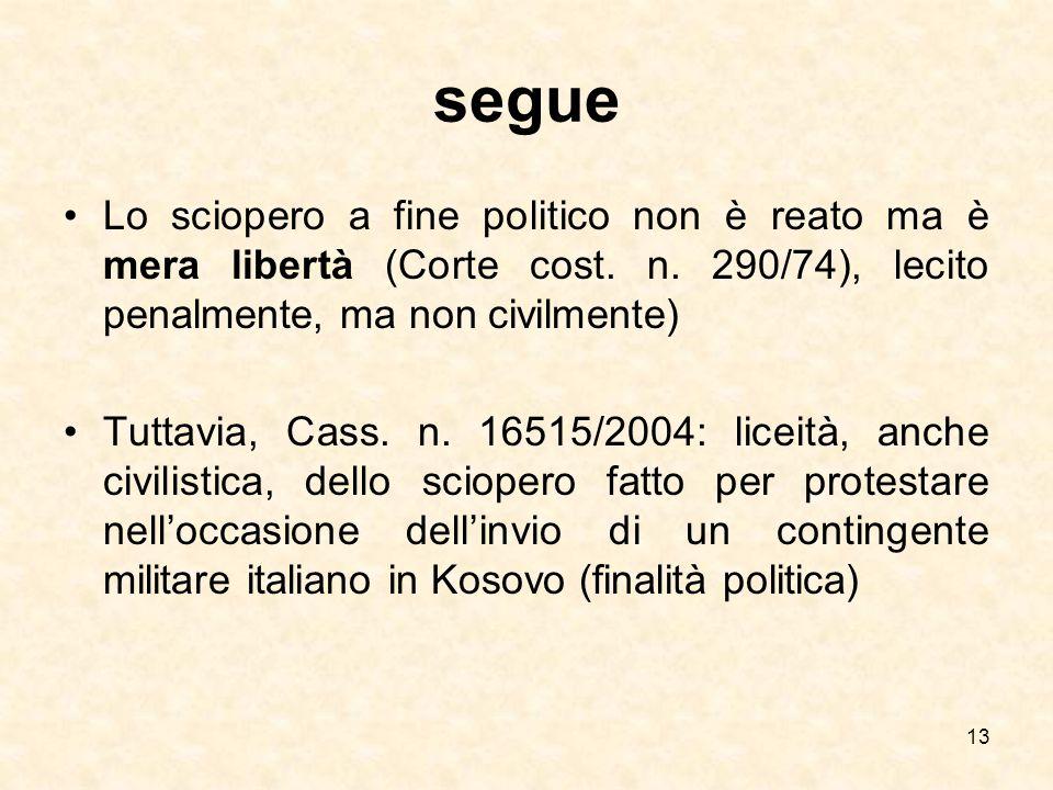 segue Lo sciopero a fine politico non è reato ma è mera libertà (Corte cost. n. 290/74), lecito penalmente, ma non civilmente) Tuttavia, Cass. n. 1651