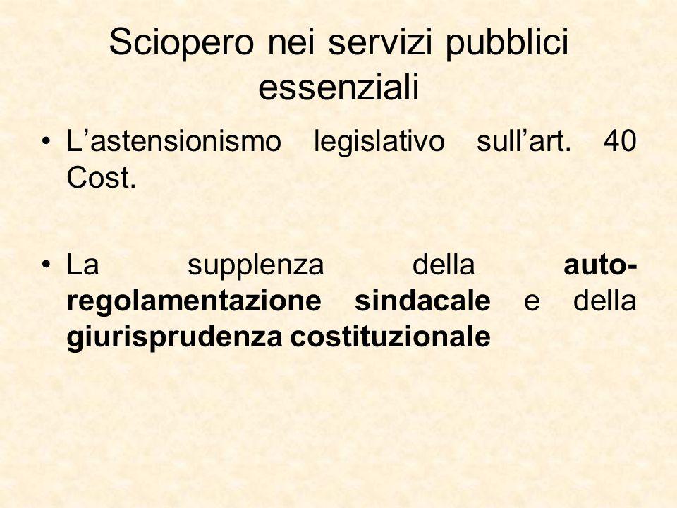 Sciopero nei servizi pubblici essenziali L'astensionismo legislativo sull'art. 40 Cost. La supplenza della auto- regolamentazione sindacale e della gi