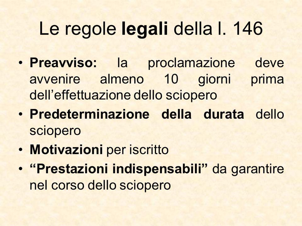 Le regole legali della l. 146 Preavviso: la proclamazione deve avvenire almeno 10 giorni prima dell'effettuazione dello sciopero Predeterminazione del