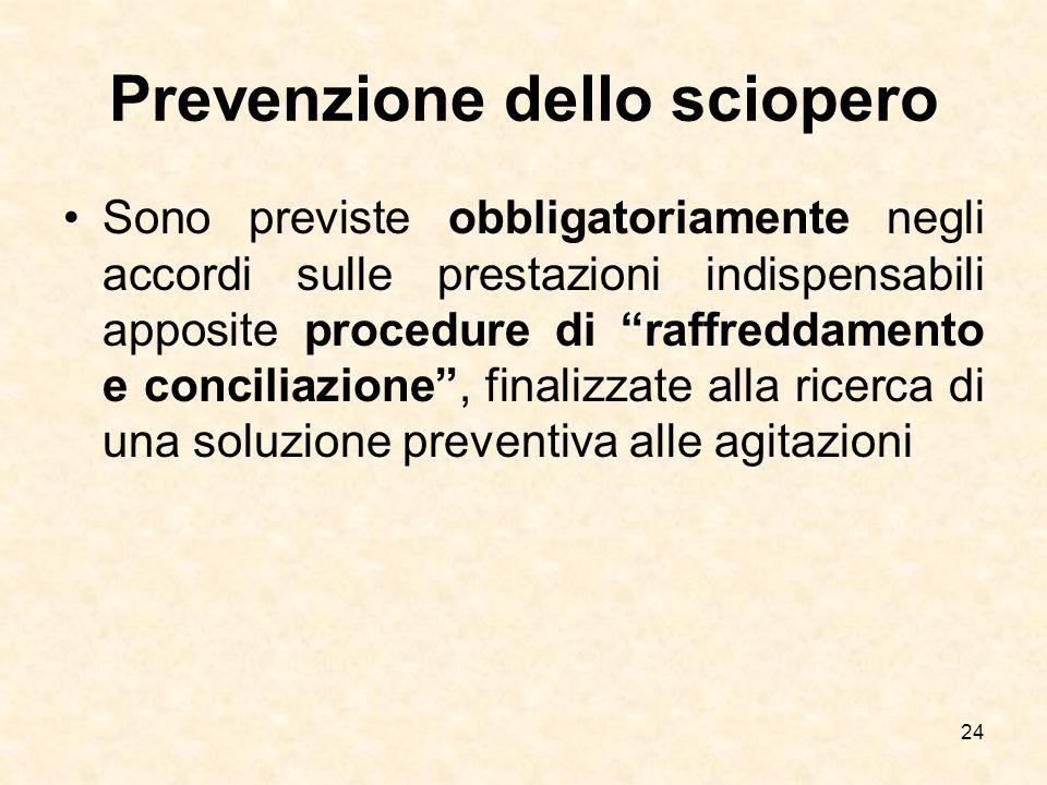 """Prevenzione dello sciopero Sono previste obbligatoriamente negli accordi sulle prestazioni indispensabili apposite procedure di """"raffreddamento e conc"""