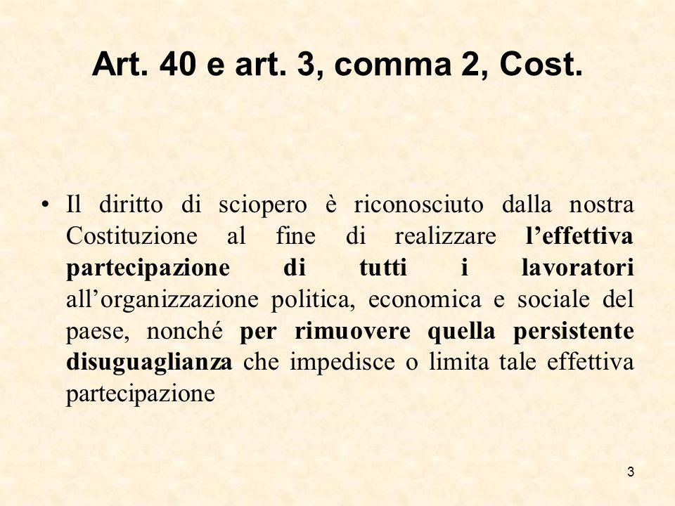 Art. 40 e art. 3, comma 2, Cost. Il diritto di sciopero è riconosciuto dalla nostra Costituzione al fine di realizzare l'effettiva partecipazione di t