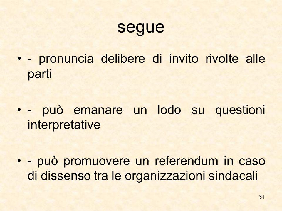 segue - pronuncia delibere di invito rivolte alle parti - può emanare un lodo su questioni interpretative - può promuovere un referendum in caso di di