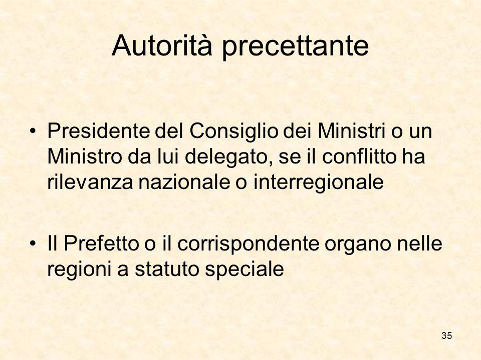 Autorità precettante Presidente del Consiglio dei Ministri o un Ministro da lui delegato, se il conflitto ha rilevanza nazionale o interregionale Il P