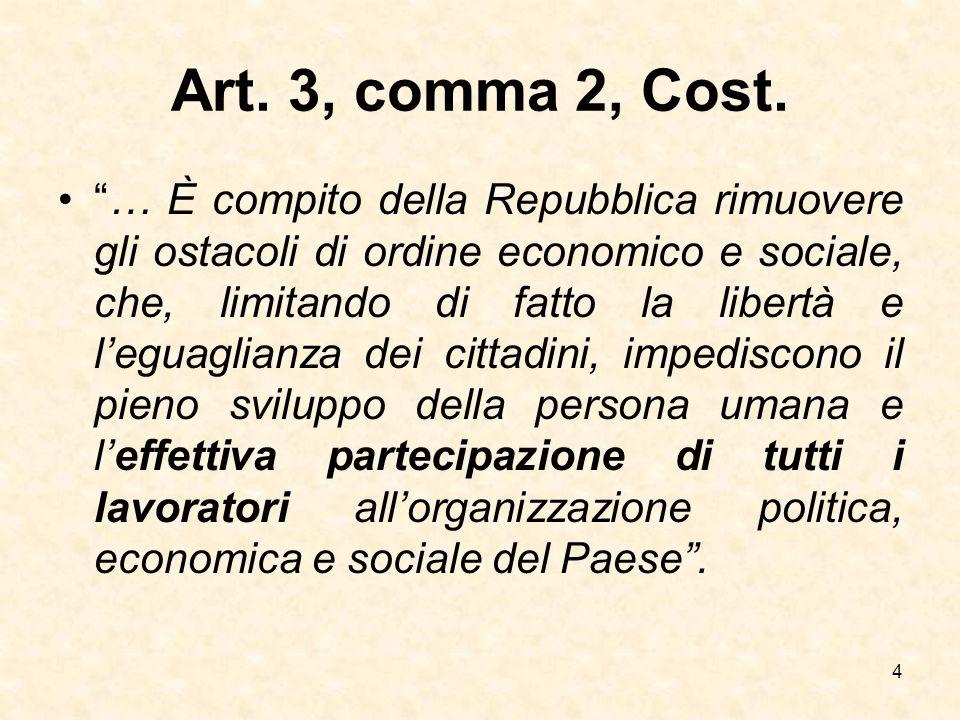 """Art. 3, comma 2, Cost. """"… È compito della Repubblica rimuovere gli ostacoli di ordine economico e sociale, che, limitando di fatto la libertà e l'egua"""