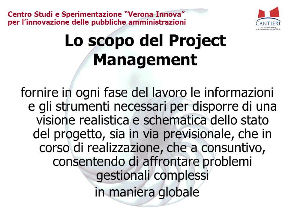 """Centro Studi e Sperimentazione """"Verona Innova"""" per l'innovazione delle pubbliche amministrazioni Lo scopo del Project Management fornire in ogni fase"""
