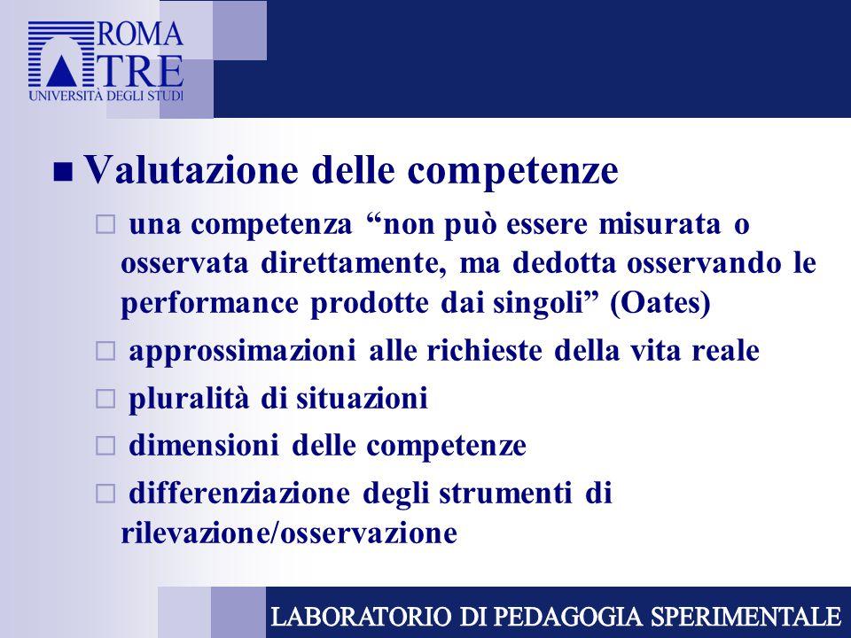 """Valutazione delle competenze  una competenza """"non può essere misurata o osservata direttamente, ma dedotta osservando le performance prodotte dai sin"""