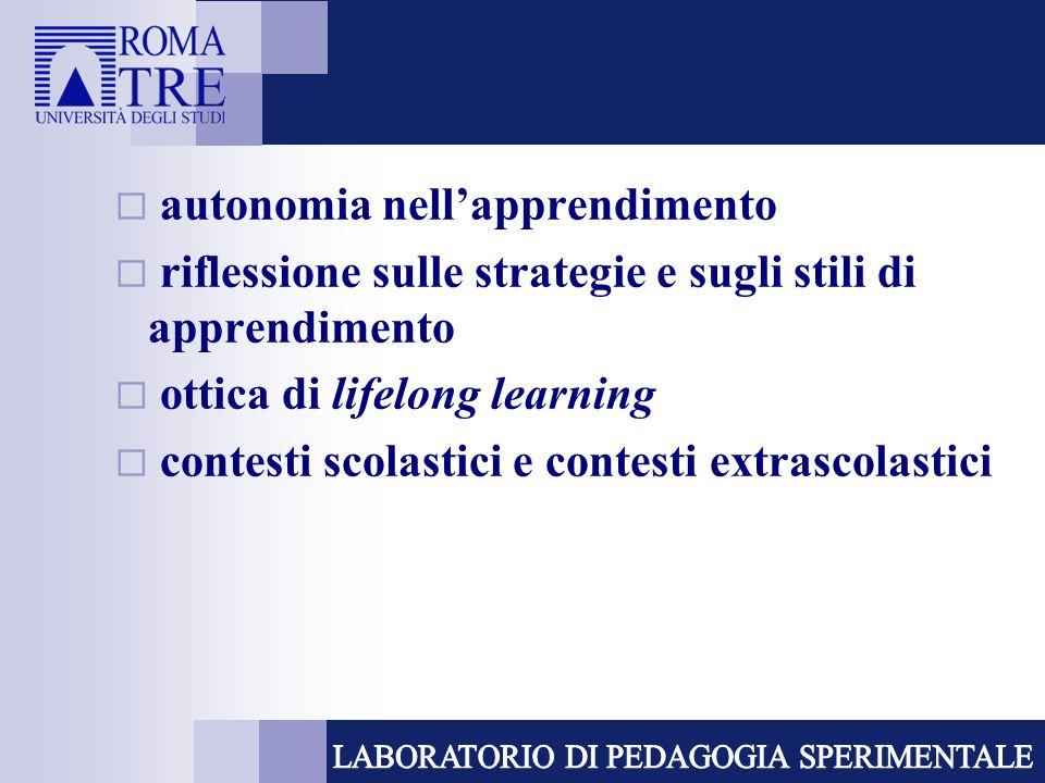  autonomia nell'apprendimento  riflessione sulle strategie e sugli stili di apprendimento  ottica di lifelong learning  contesti scolastici e cont