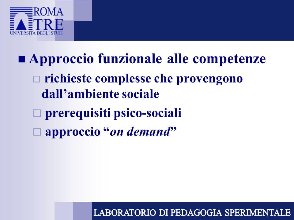 """Approccio funzionale alle competenze  richieste complesse che provengono dall'ambiente sociale  prerequisiti psico-sociali  approccio """"on demand"""""""